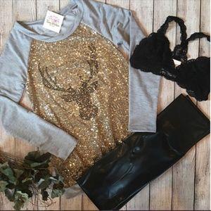 Tops - NEW Sequin Long Sleeve Deer Head Top Gray & Gold